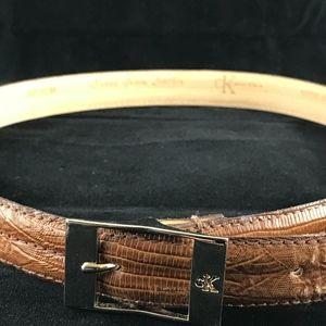 "Calvin Klein Lizard Grain Leather Belt Medium 36"""